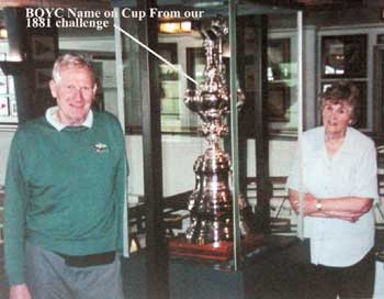 Peter and Jill Cox with The America's Cup